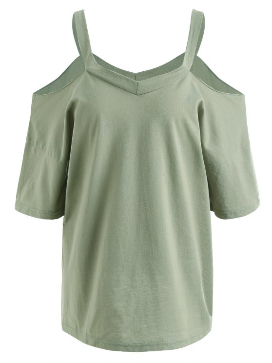 hot Plus Size Cold Shoulder T-shirt - PEA GREEN 5XL