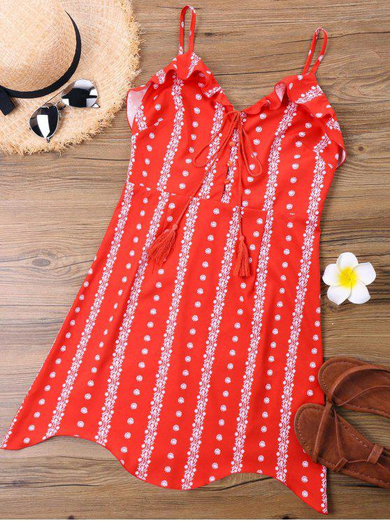فستان مصغر حزام السباغيتي طباعة - أحمر M