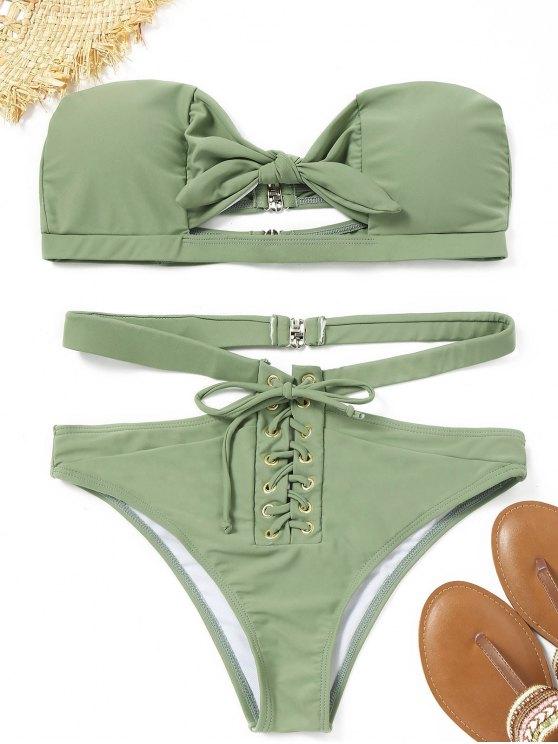 Schnürung Knoten Bandeau Bikini-Set - Erbsengrün S
