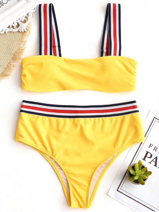 shop Striped Trim Padded Bikini Set - YELLOW S