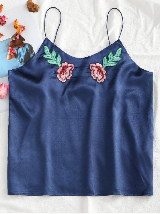 Top bordado floral em camurça de cetim remendado - Azul Escuro XL