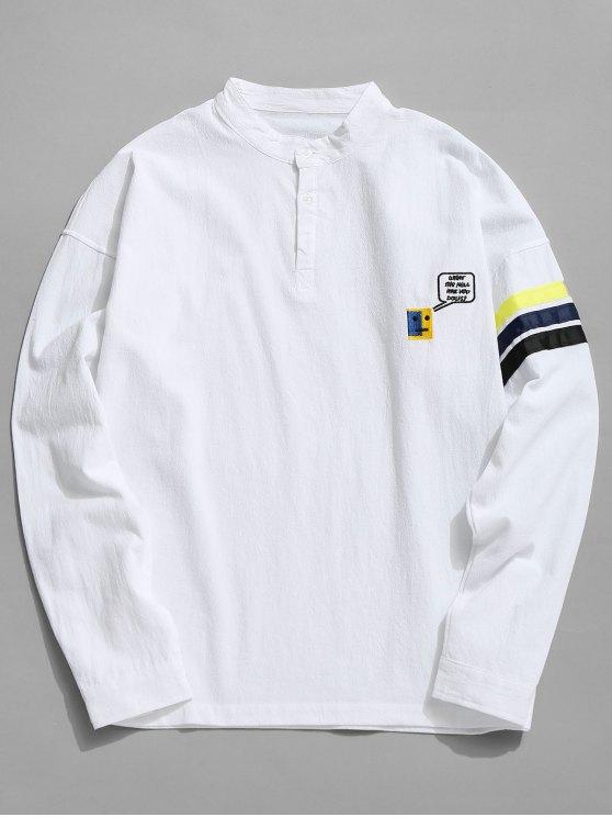 Gestreiftes Baumwollhemd - Weiß 3XL