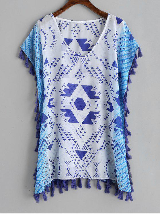 buy Geometrical Print Tassel Chiffon Kaftan - BLUE AND WHITE ONE SIZE