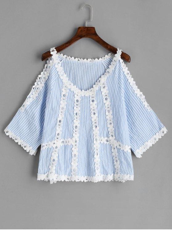 women's Cold Shoulder Crochet Flower Striped Blouse - LIGHT BLUE M