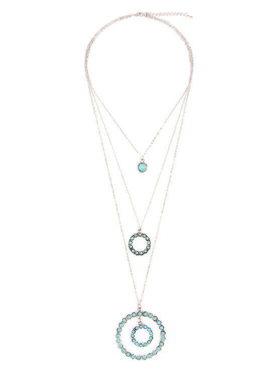 Colar de pingente de círculo de turquesa retro Faux Turquoise de várias camadas - Prata