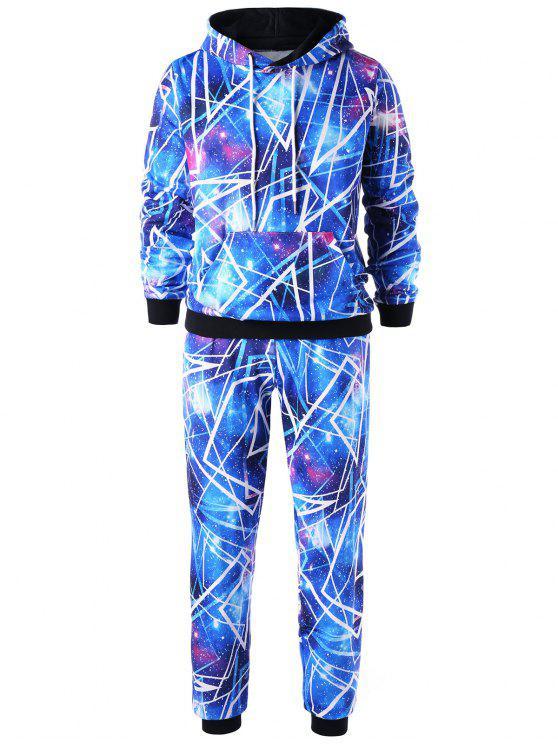 Hoodie da galáxia com calças jogger - Azul XL