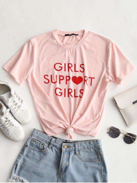 T-shirt redondo do colar da cópia da letra - Rosa Claro L