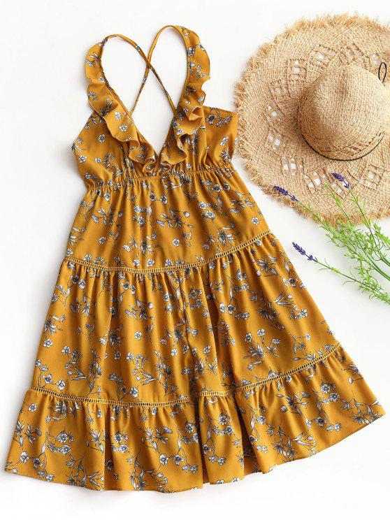 فستان طباعة الأزهار عارية الظهر كشكش امبراطورية الخصر - الأزهار S