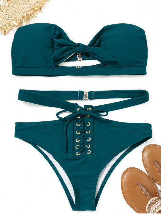 best Lace-up Knot Bandeau Bikini Set - PEACOCK BLUE S