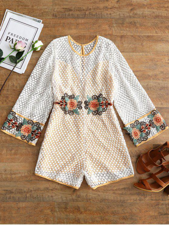 Open Back Embroidered Crochet Romper