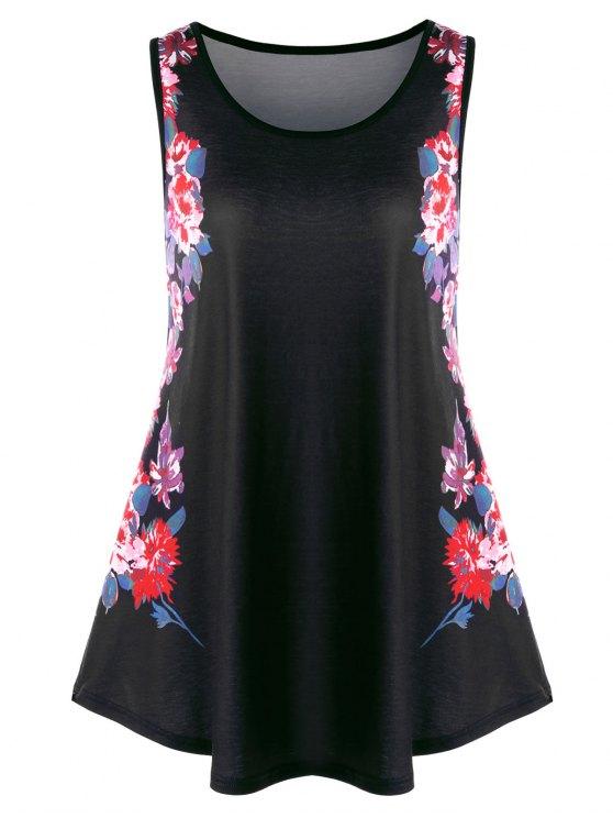 Débardeur Tunique Floral Grande Taille - Noir 3XL