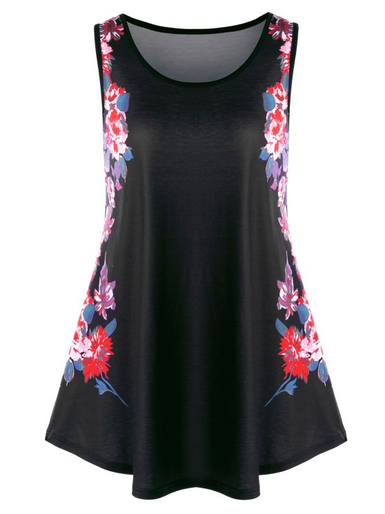 80a2d5ad2f9 22% OFF] 2019 Plus Size Floral Tunic Tank Top In BLACK | ZAFUL