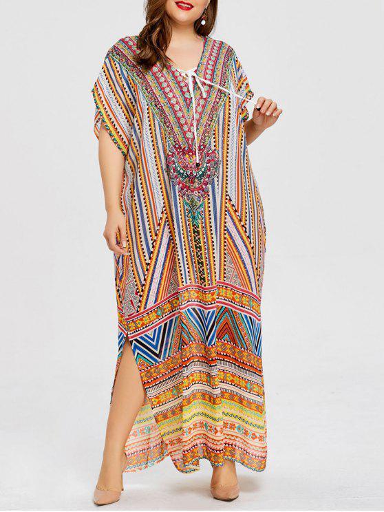 فستان الحجم الكبير جانب الانقسام طباعة الأزهار - السلمون الداكن حجم واحد