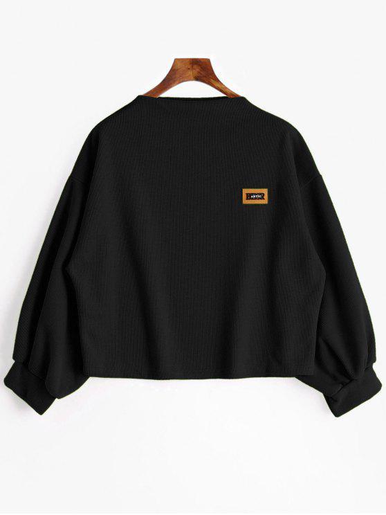 Sweat-shirt à Manches Lanternes Grande Taille - Noir 2XL