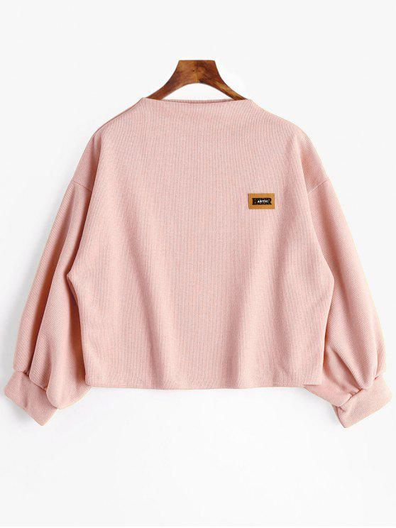 ladies Badge Patch Lantern Sleeve Plus Size Sweatshirt - PINK XL