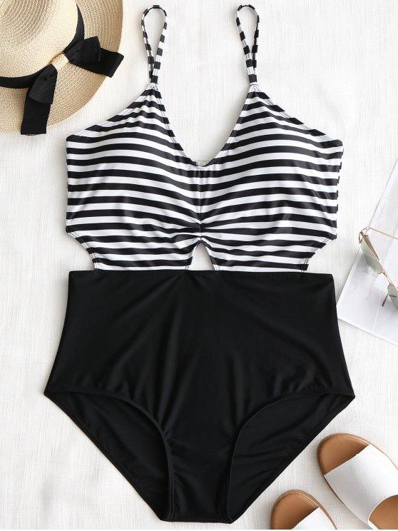Cortar tamanho grande listrado Monokini - Branco e Preto XL