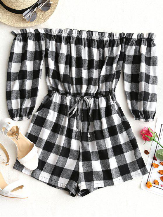 affordable Off Shoulder Ruffles Checked Romper - BLACK WHITE L