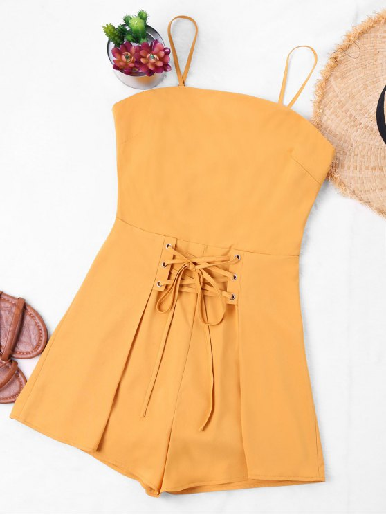 chic Bow Lace Up Slip Romper - YELLOW XL