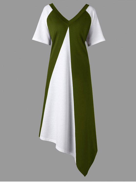 فستان الحجم الكبير كتلة اللون - الجيش الأخضر 4XL