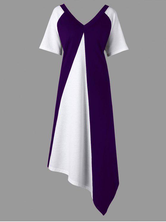 زائد الحجم غير المتكافئة اللون كتلة المحملة اللباس - أرجواني 3XL