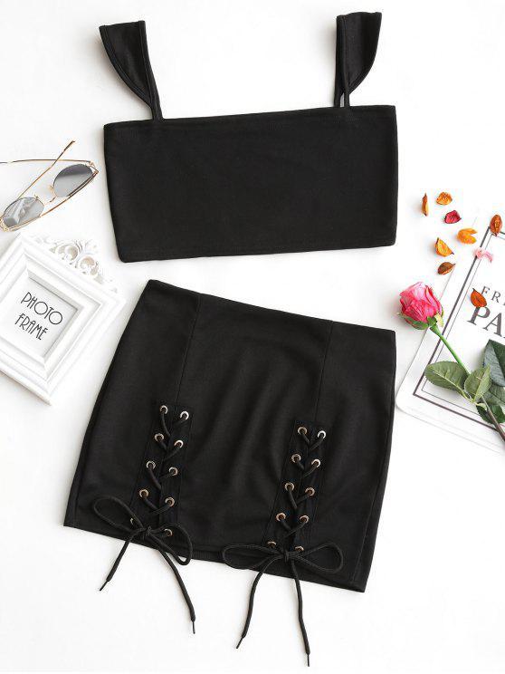 Conjunto de falda corta y con cordones - Negro S