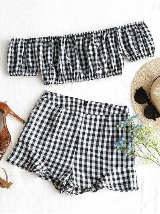 hot Checked Off Shoulder Top and Shorts Set - BLACK WHITE L