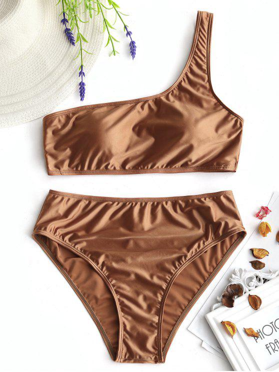 ladies Padded Shiny One Shoulder Bikini Set - BROWN M