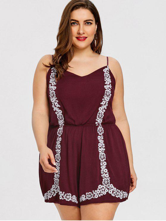 Flower Embroidered Plus Size Romper - Vinho vermelho 2XL