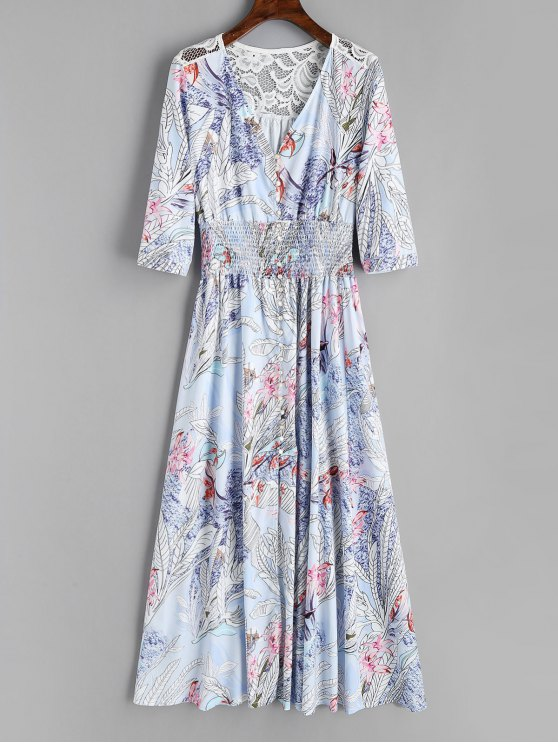 outfit Floral Button Up Lace Panel Maxi Dress - FLORAL S