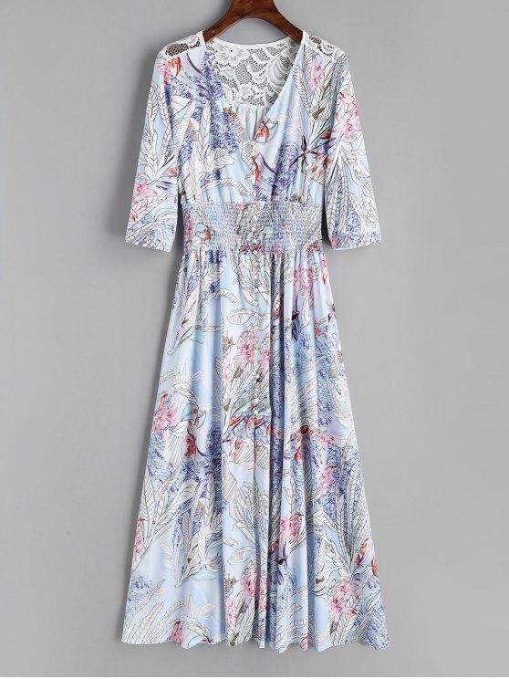 shop Floral Button Up Lace Panel Maxi Dress - FLORAL L
