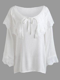 Crinkly Overlay Lacework Insert Plus Size Blouse - White 4xl