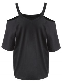 Plus Size Cold Shoulder T-shirt - Black 3xl