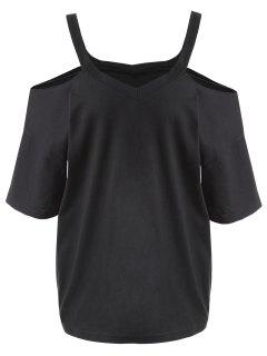 Plus Size Cold Shoulder T-shirt - Black 4xl