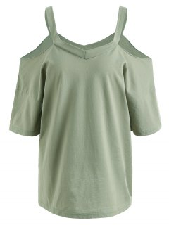 Plus Size Cold Shoulder T-shirt - Pea Green 3xl