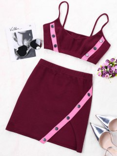 Two Tone Skirt Two Piece Set - Wine Red Xl