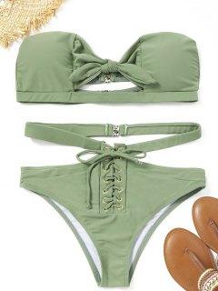 Ensemble Bikini Bandeau Découpé à Lacets - Pois Verts M