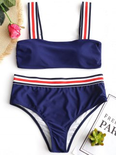 Conjunto De Bikini Con Relleno A Rayas - Azul Profundo M