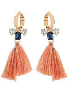 Aleación Ahueca Hacia Fuera Faux Crystal Tassel Decorated Drop Earrings - Dorado