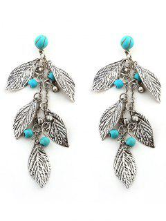 Muti Layer Leaves And Beaded Drop Earrings - Silver