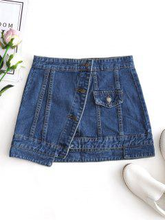Jean Button Up Mini Skirt - Denim Blue M