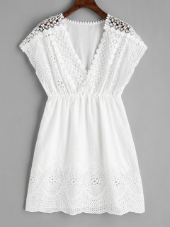 V Neck Laser Cut Dress - White