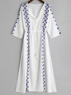 Printed Drawstring Slit Cover-up Dress - White
