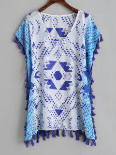 Caftan En Mousseline De Soie à Pampilles Géométriques - Bleu Et Blanc