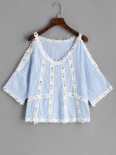 Cold Shoulder Crochet Flower Striped Blouse - Light Blue L