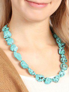 Vintage Simulated Geometric Turquoise Necklace - Light Blue