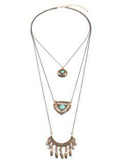 Multiélément Faux Turquoise 3 Layered Fringed Pendentif Neckalce - Or