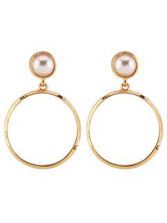Faux Crystal Alloy Circle Embellished Stud Drop Earrings - Golden