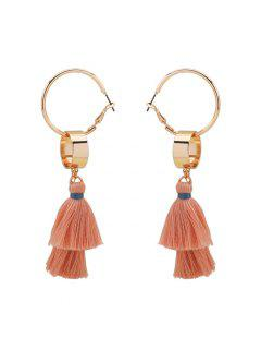 Alloy Bohemian Tassel Hoop Drop Earrings - Golden