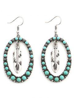 Faux Turquoise Bohemia Inlay Floral And Leaf Drop Earrings - Silver
