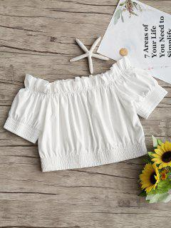 Off Shoulder Ruffle Hem Crop Blouse - White S